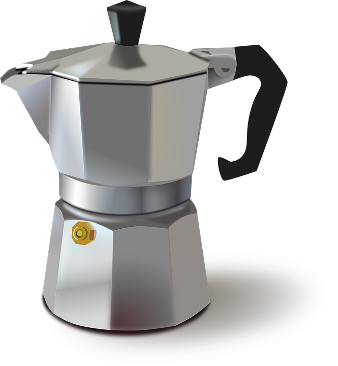 Kaffeemaschine, Metallischen, Topf, Metall, Alte