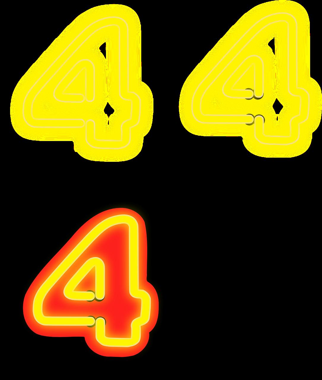 Добрым утром, картинки цифра 4 желтая