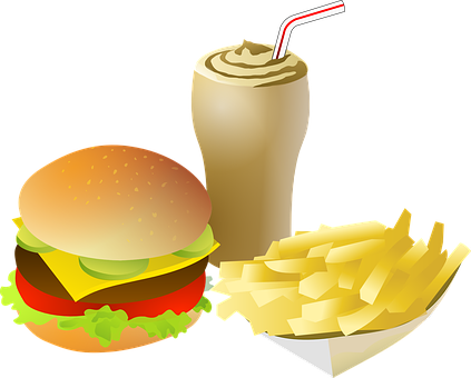 Cheeseburger, Drink, Fries, Food, Menu