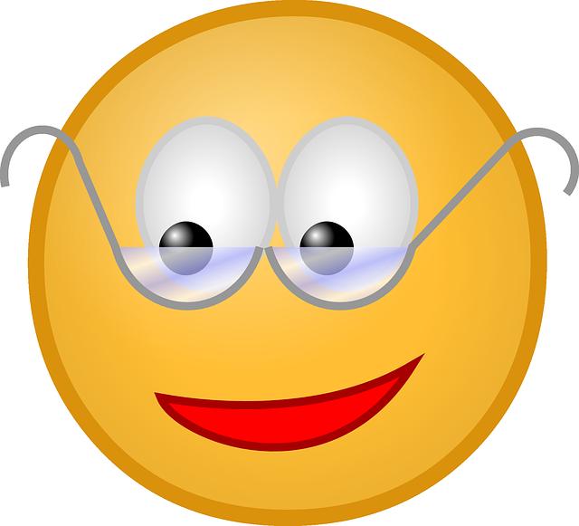 Для детей, картинки смешной смайлик в очках