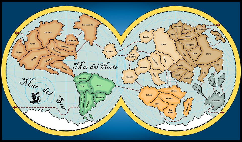 Map world continents free vector graphic on pixabay map world continents oceans geography planet gumiabroncs Images