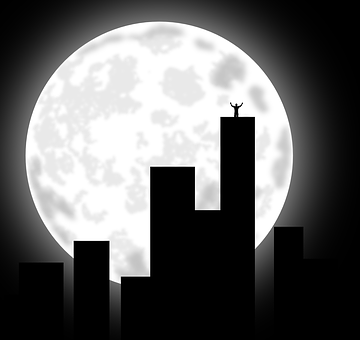 City, Moon, Buildings, Cityscape, Night