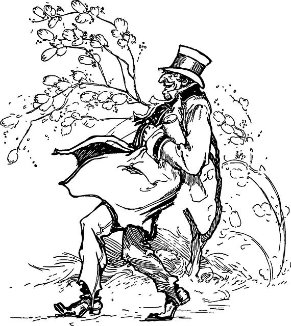 Adam Yuruyus Firtinali Pixabay Da Ucretsiz Vektor Grafik