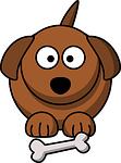 dog, bone, brown