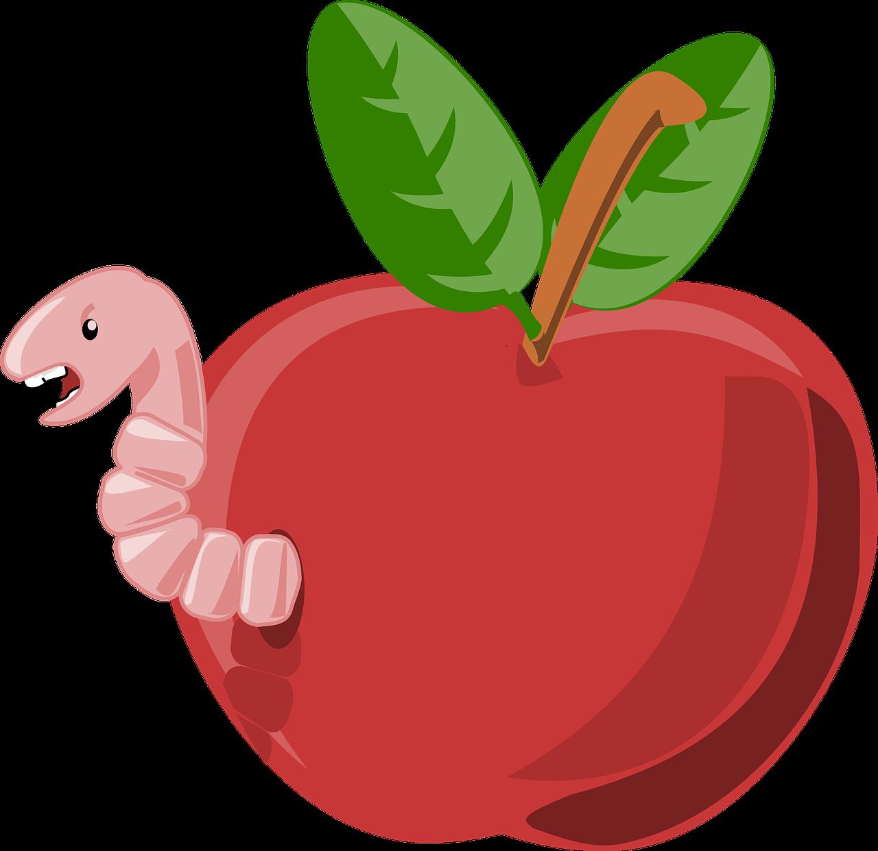 Картинка яблочко с червячком