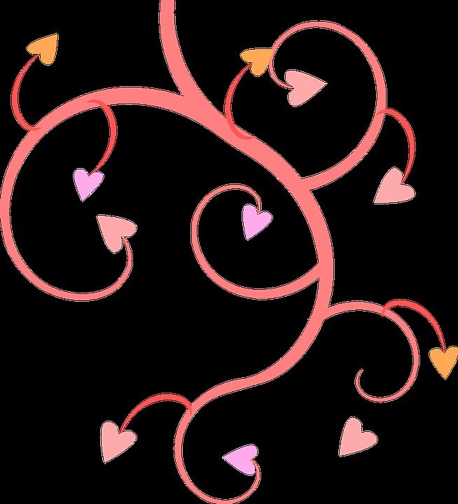 Pink Vines Hearts Shapes Patterns Designs Love