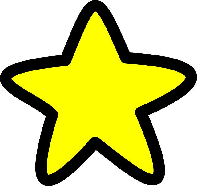 Gambar vektor gratis: Bintang, Kuning, Bentuk, Berpijar