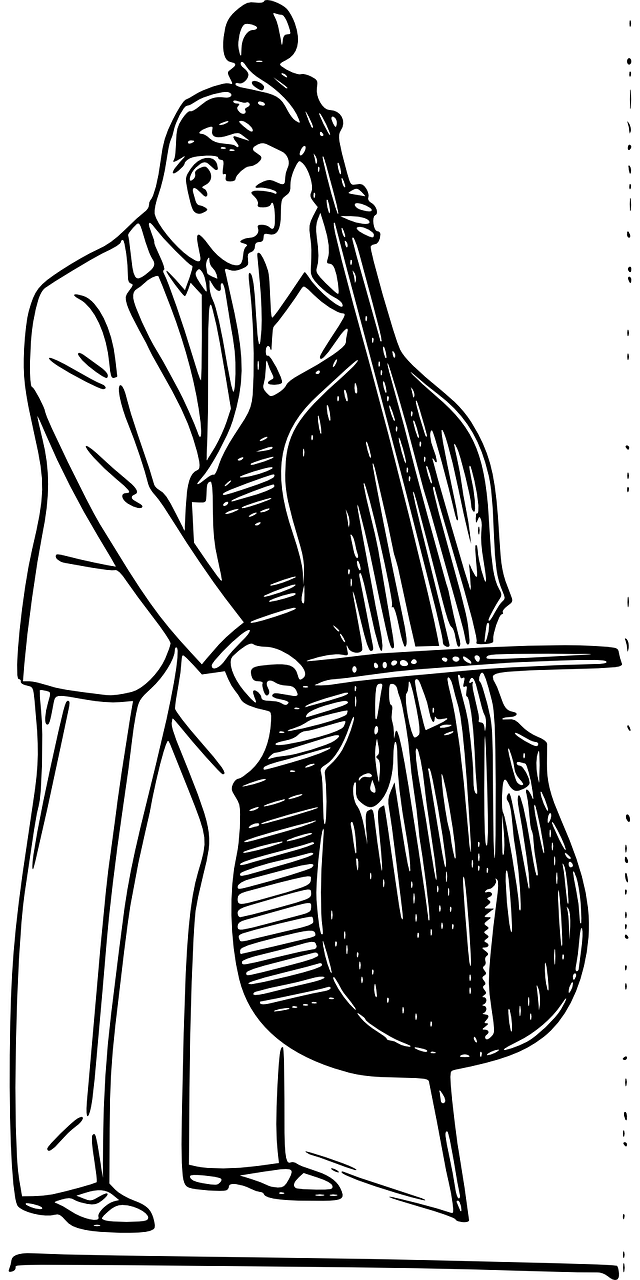 Поздравление, рисунок музыканта с инструментом