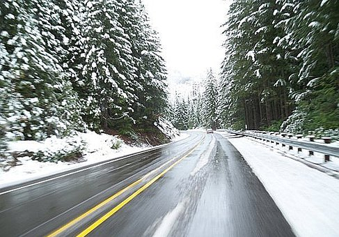 Driving, Winter, Road, Travel