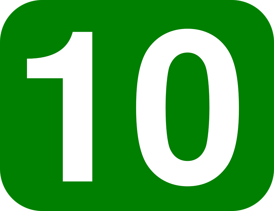 Number, 10, Ten, Rounded, Rectangle, Green, White