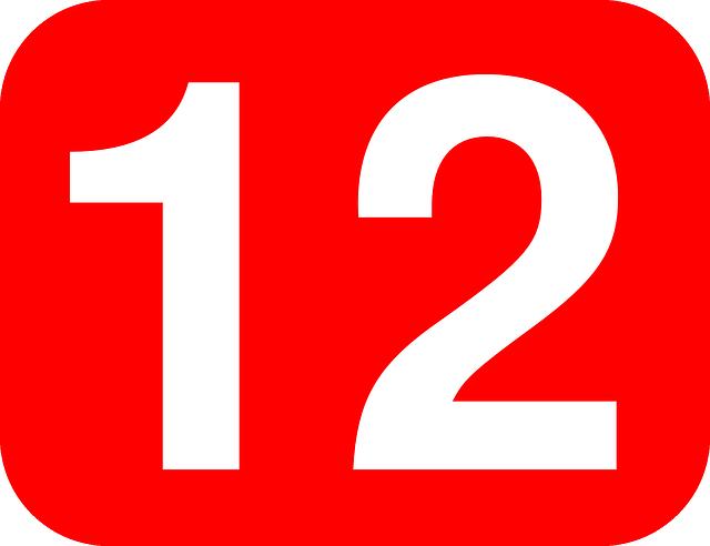 twelve 12 number free vector graphic on pixabay atomic number 12 12 #11