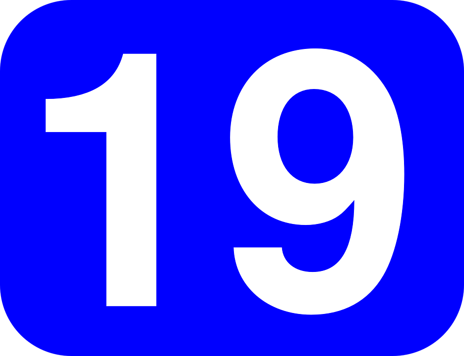 number 19 rounded rectangle blue white