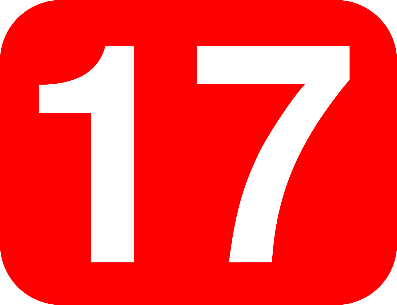 Картинка с цифрой 17 большой формат, летием