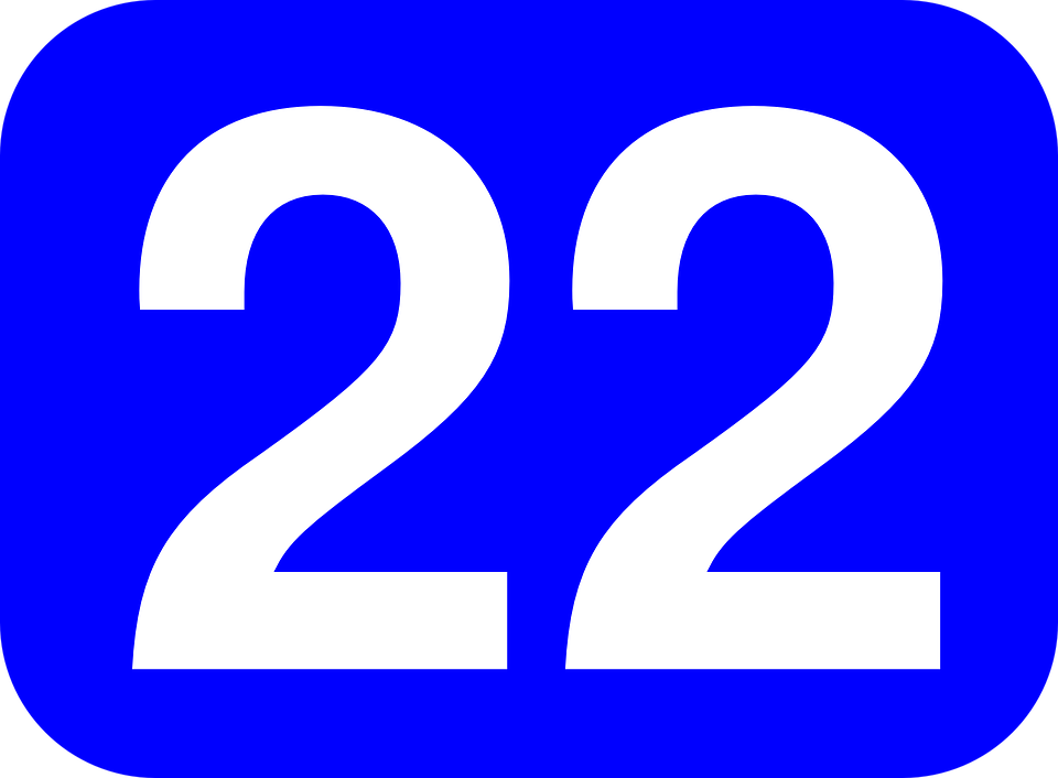 number 22 blue free vector graphic on pixabay