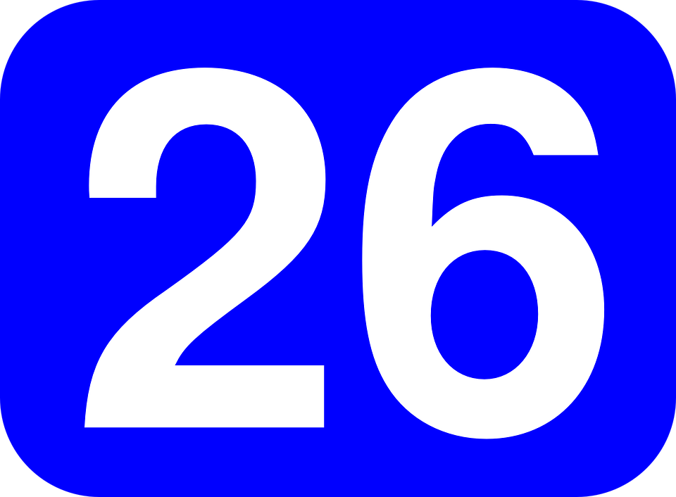 number rectangle rounded 26 blue white