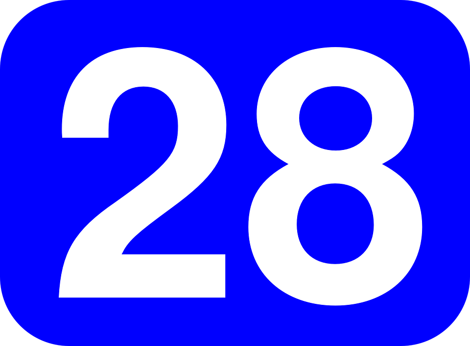 Free Vector Graphic Number 28 Rounded Rectangle Free