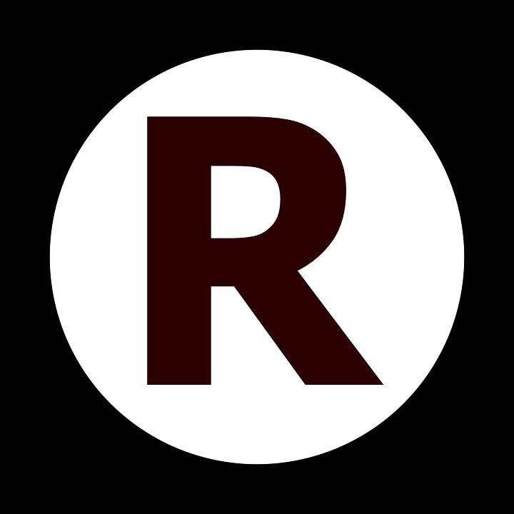 Marca Registrada, Direitos, Letra, Círculo, R
