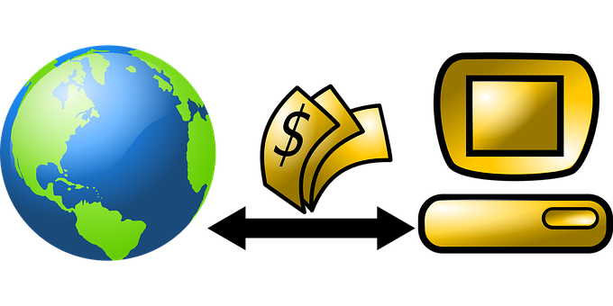 A terrestrial globe on the left, a desktop computer on the right with dollars changing positions in the middle