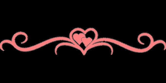 蓬勃发展, 心, 分隔符, 漩涡, 水平, 粉红色, 爱, 设计, 装饰, 元素