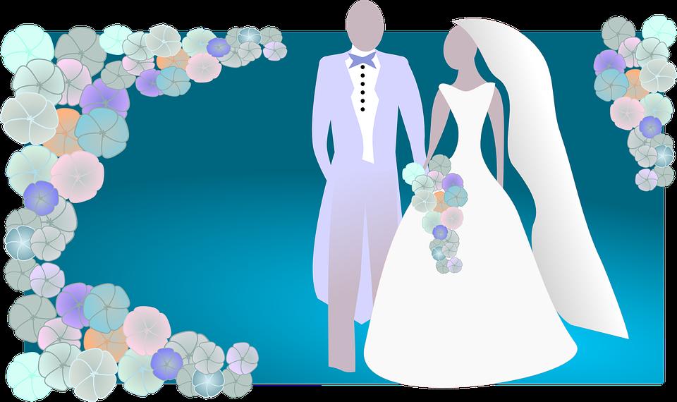 Wedding, Bride, Groom, Blue Background, Floral, Flowers