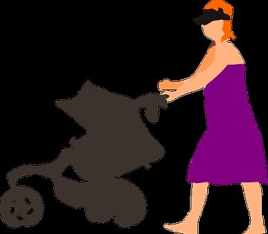 女性, ベビーカー, 赤ちゃん, お母さん, プッシュ, 徒歩, 母