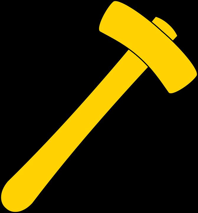 Free Vector Graphic: Hammer, Tool, Yellow, Carpenter
