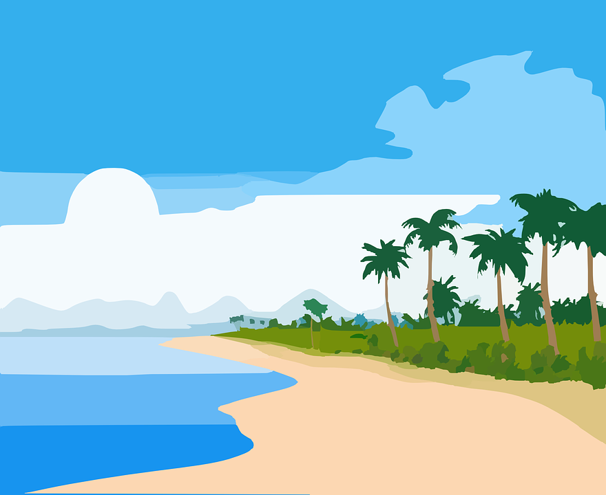 ビーチ, トロピカル, 風景, 青, 海洋, 海, 空, 白い, 雲, 緑, 手のひら, 木, ココナッツ