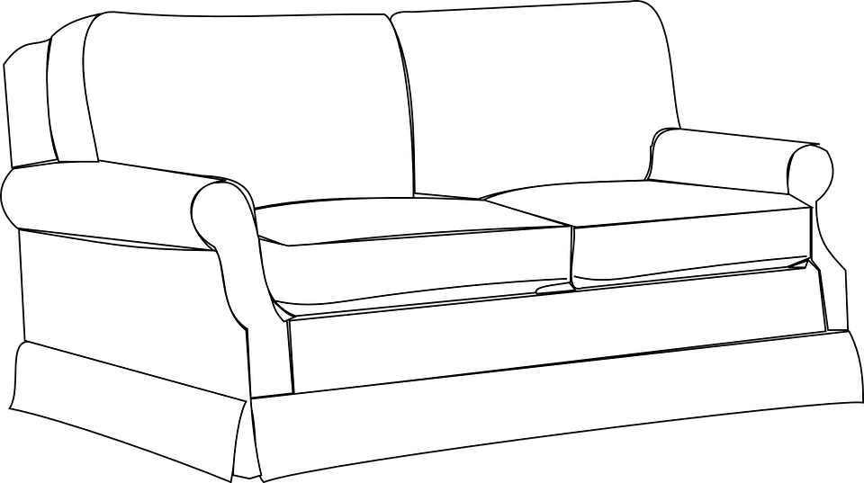 furniture set clipart black and white. sofa couch furniture home room interior house set clipart black and white