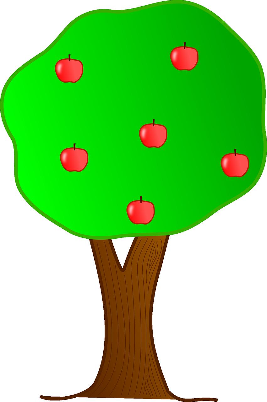 Картинка дерево с яблоками, открыток
