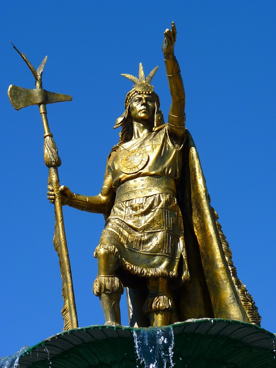 Estatua, Humano, Guerrero, Inca, Cusco, Perú, De Oro