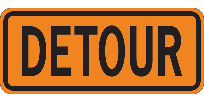 Detour, Sign, Warning, Signage, Roadsign