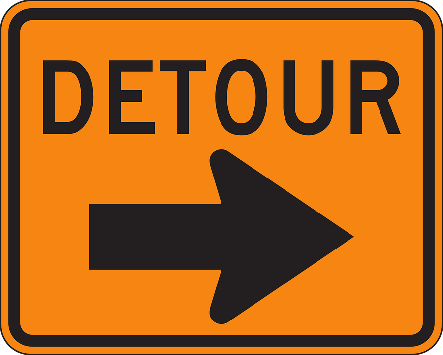 Detour, Sign, Warning, Right, Arrow, Roadsign