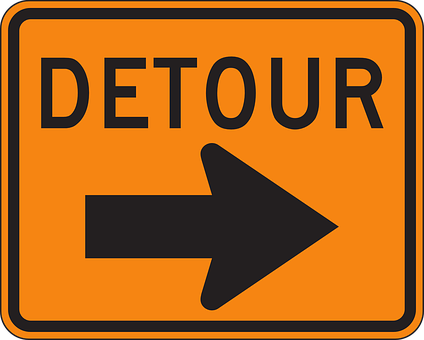 Detour Sign Warning Right Arrow Roadsign I