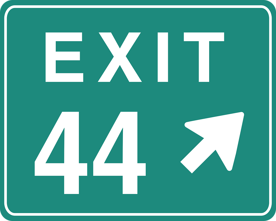 exit 44 sign signage direction road information