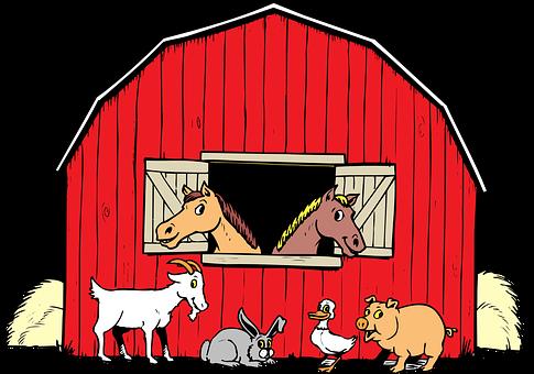 動物, 納屋, 鴨, 豚, ヤギ, 馬, ウサギ, 乾草, イヌ, 記号