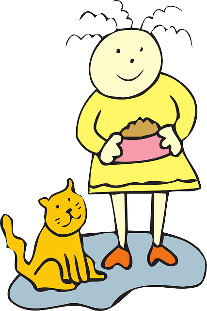 Free vector graphic: Cat, Food, Bowl, Girl, Child, Pet ...