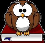 owl, bird, book
