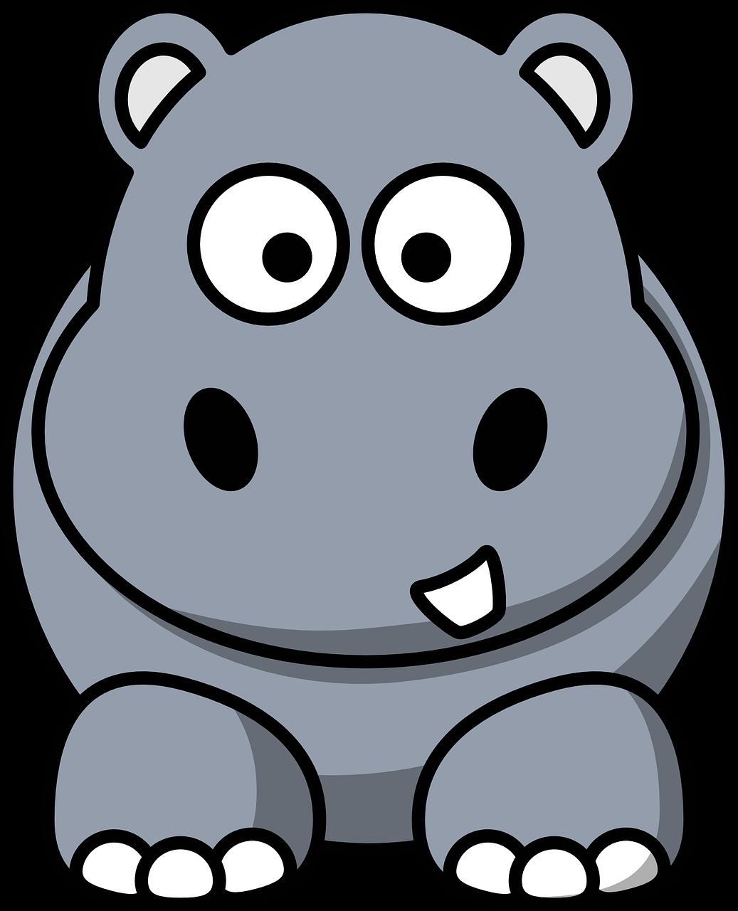 河马,卡通,灰色,野生动物,哺乳动物,野生,动物,快乐,自然,圆