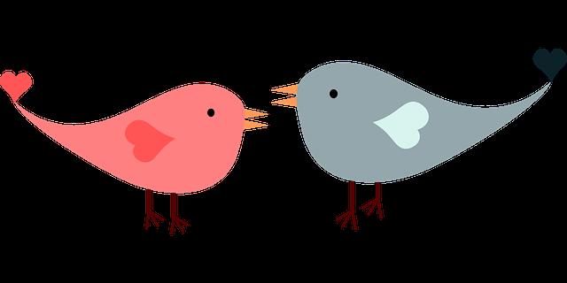 Walking In Love Clip Art: Imagem Vetorial Gratis: Amor, Pássaros, Lovebirds, Coração