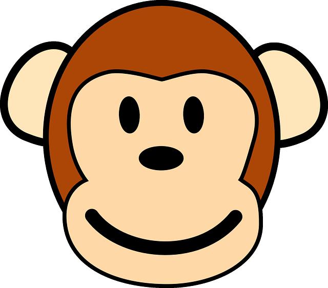 Happy Cartoon Gorilla Face Singe Visage He...
