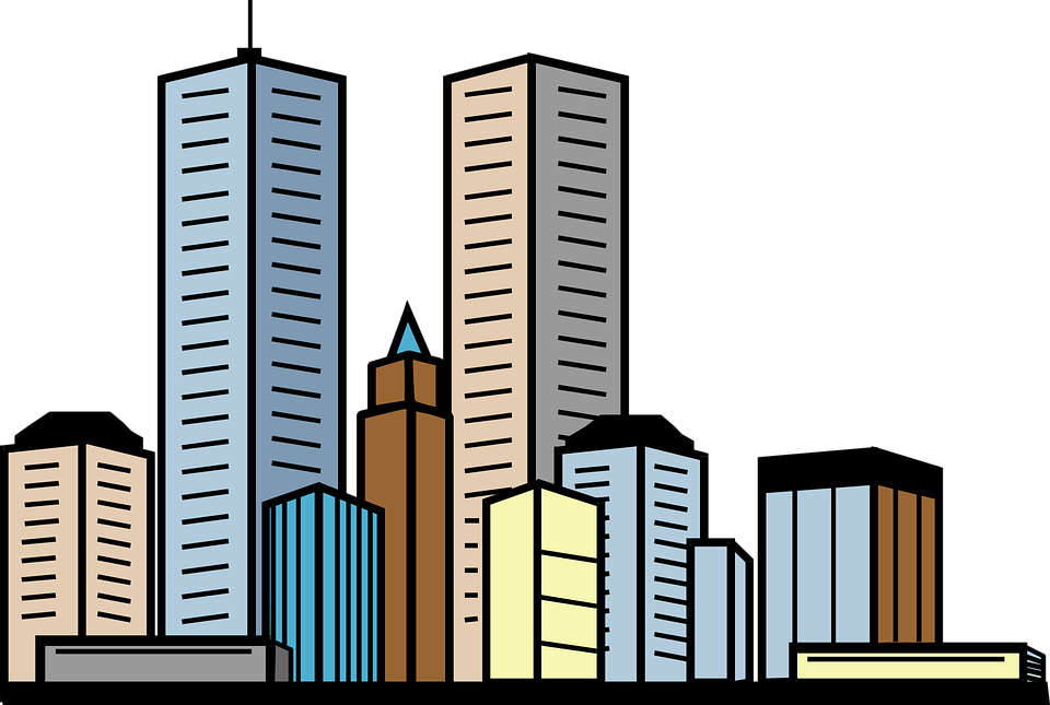 city buildings skyscrapers free vector graphic on pixabay rh pixabay com city building clipart png city building background clipart