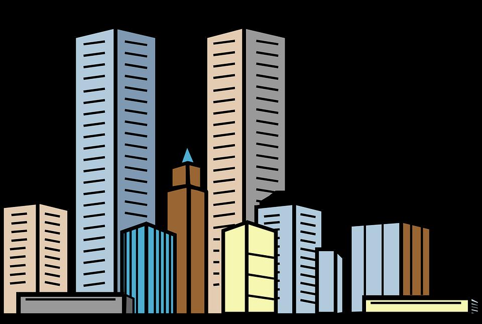 city buildings skyscrapers free vector graphic on pixabay rh pixabay com city landscape buildings clipart City Logos Clip Art