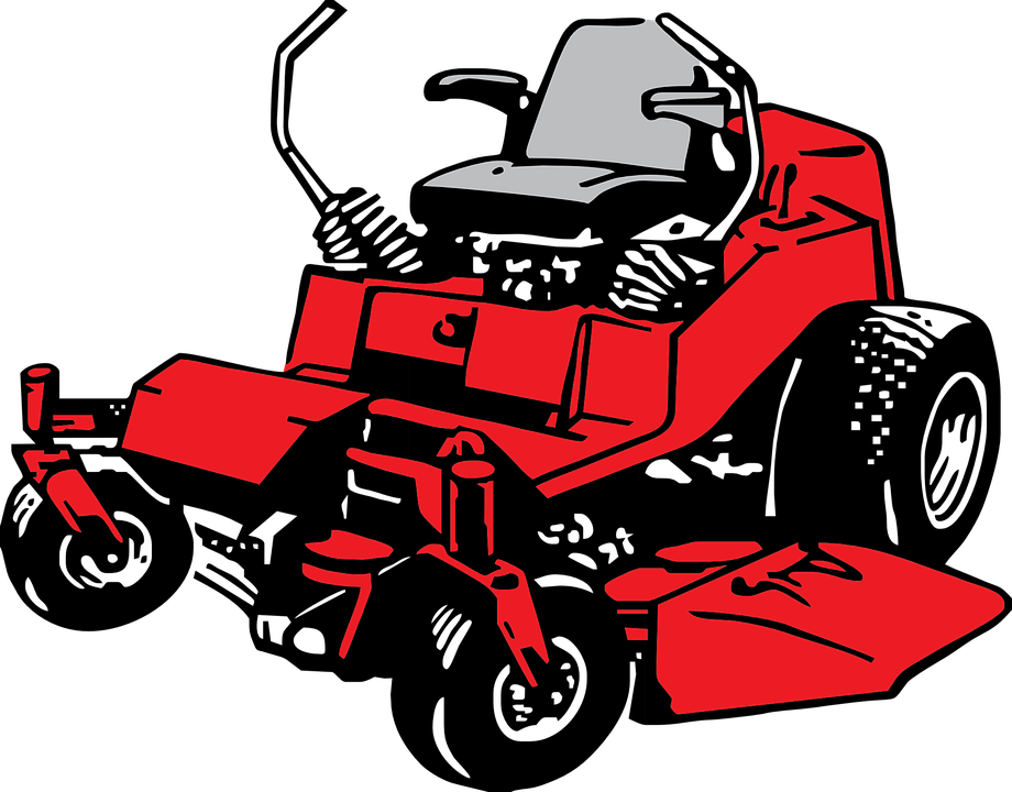 Tractor Mowing Painting : Free vector graphic mower machine lawn vehicle red