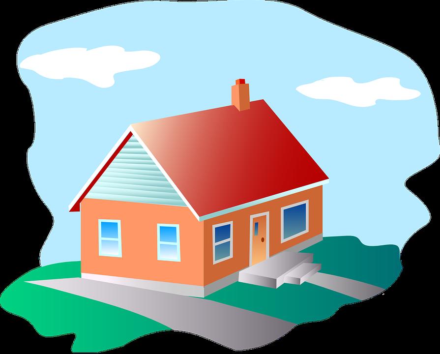 Haus Rot Dach Orange Wände Blau Fenster Bunte