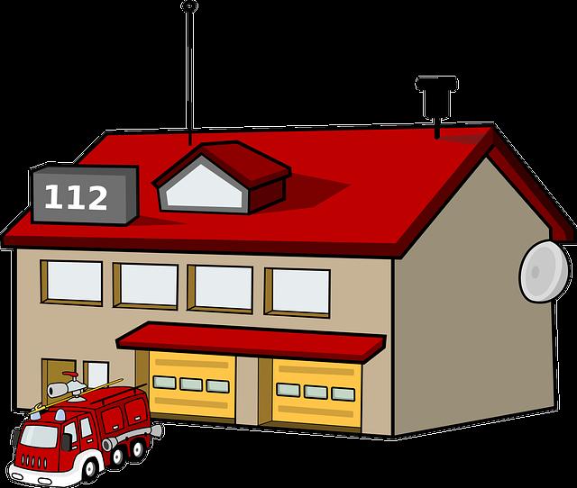 Vector gratis estaci n de bomberos casa imagen gratis - Dessin caserne pompier ...