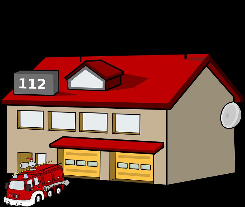 Brandstation, Hus, Bygning, Brand, Motor, Lastbil
