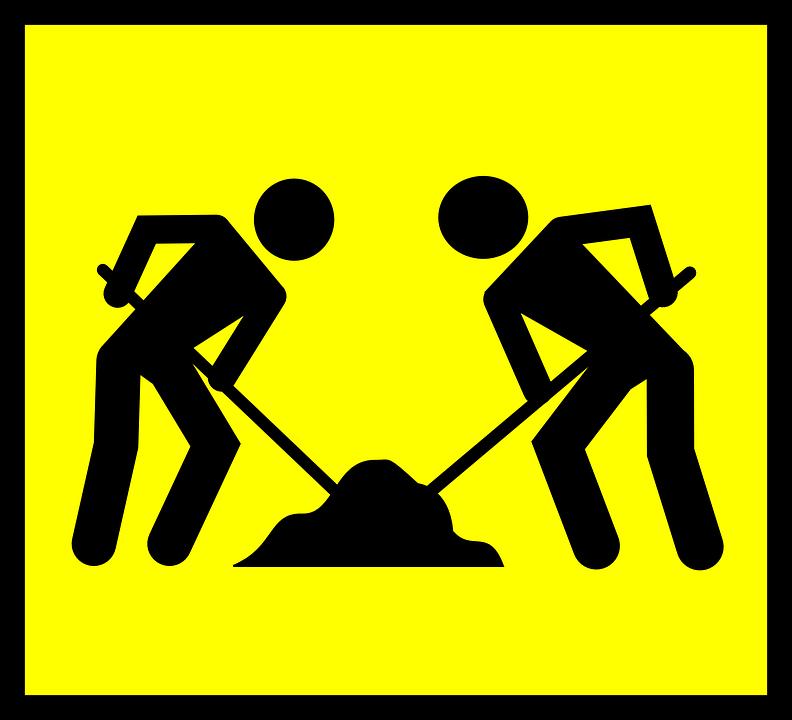 Road Sign, Roadsign, Road Work, Men, Worker, Sand, Road