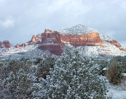 Sedona Winter Mountains Landscape Wilderne