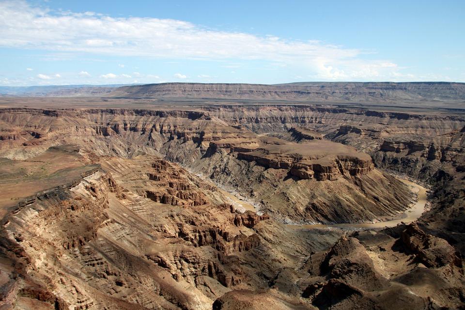 Canyon, Ravin, Paysage, Namibie, Afrique, Désert, Ciel