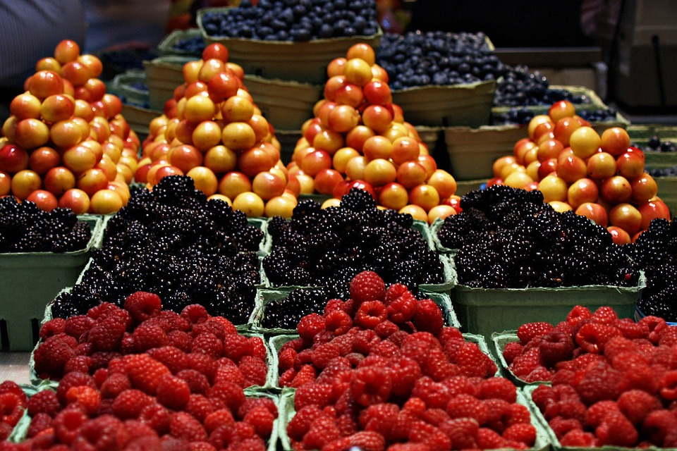 Market, Fruits, Raspberries, Cherries, Black Berries